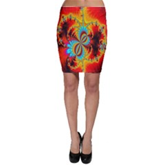 Crazy Mandelbrot Fractal Red Yellow Turquoise Bodycon Skirt