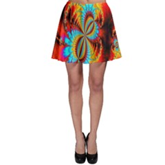 Crazy Mandelbrot Fractal Red Yellow Turquoise Skater Skirt