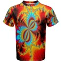 Crazy Mandelbrot Fractal Red Yellow Turquoise Men s Cotton Tee View1