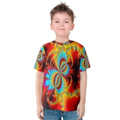 Crazy Mandelbrot Fractal Red Yellow Turquoise Kids  Cotton Tee