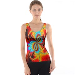 Crazy Mandelbrot Fractal Red Yellow Turquoise Tank Top