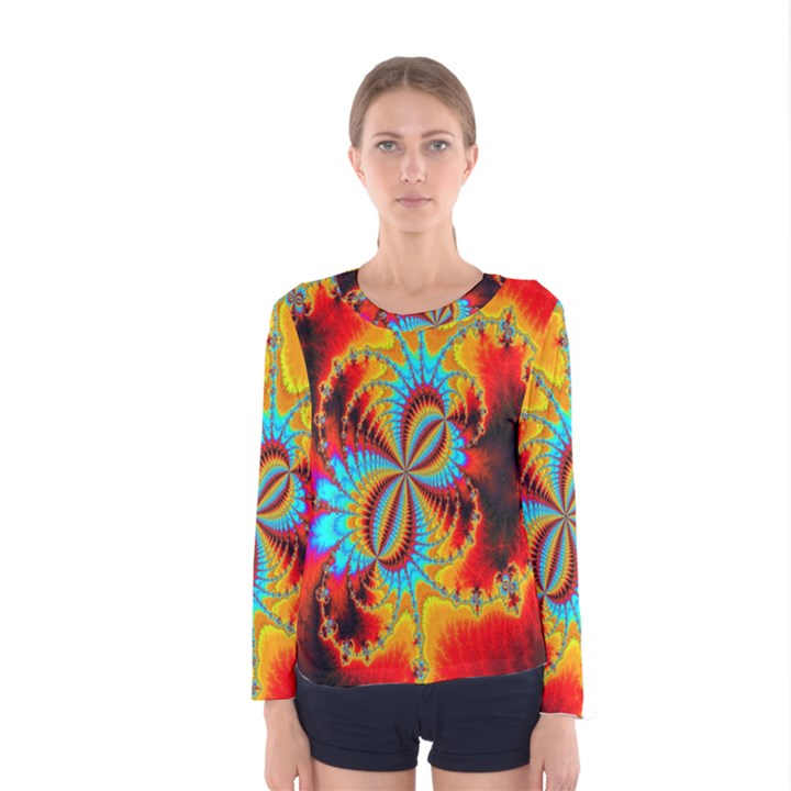 Crazy Mandelbrot Fractal Red Yellow Turquoise Women s Long Sleeve Tee