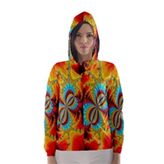 Crazy Mandelbrot Fractal Red Yellow Turquoise Hooded Wind Breaker (women)