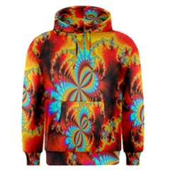 Crazy Mandelbrot Fractal Red Yellow Turquoise Men s Pullover Hoodie