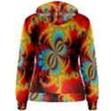 Crazy Mandelbrot Fractal Red Yellow Turquoise Women s Pullover Hoodie View2