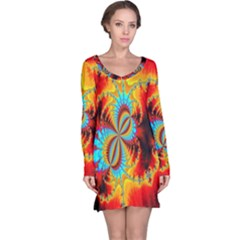 Crazy Mandelbrot Fractal Red Yellow Turquoise Long Sleeve Nightdress