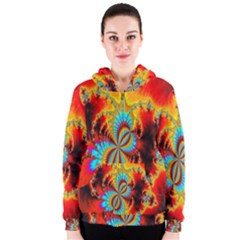 Crazy Mandelbrot Fractal Red Yellow Turquoise Women s Zipper Hoodie by EDDArt