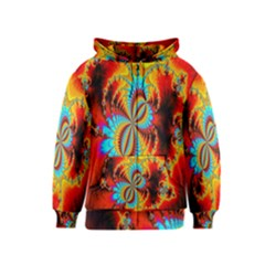 Crazy Mandelbrot Fractal Red Yellow Turquoise Kids  Zipper Hoodie