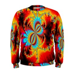 Crazy Mandelbrot Fractal Red Yellow Turquoise Men s Sweatshirt by EDDArt