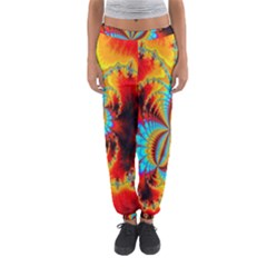Crazy Mandelbrot Fractal Red Yellow Turquoise Women s Jogger Sweatpants by EDDArt