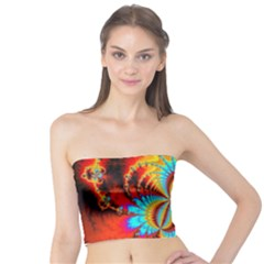 Crazy Mandelbrot Fractal Red Yellow Turquoise Tube Top by EDDArt