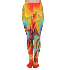 Crazy Mandelbrot Fractal Red Yellow Turquoise Women s Tights