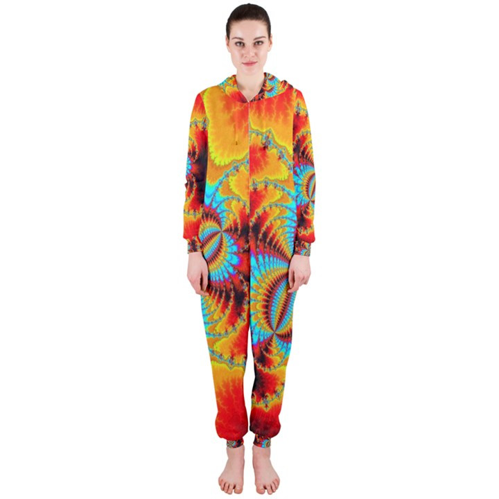 Crazy Mandelbrot Fractal Red Yellow Turquoise Hooded Jumpsuit (Ladies)