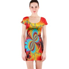 Crazy Mandelbrot Fractal Red Yellow Turquoise Short Sleeve Bodycon Dress