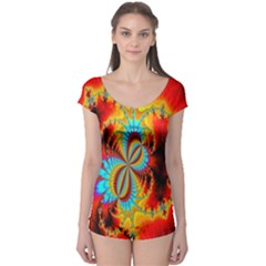 Crazy Mandelbrot Fractal Red Yellow Turquoise Boyleg Leotard