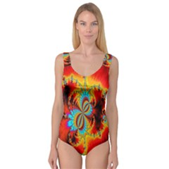 Crazy Mandelbrot Fractal Red Yellow Turquoise Princess Tank Leotard