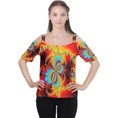 Crazy Mandelbrot Fractal Red Yellow Turquoise Women s Cutout Shoulder Tee by EDDArt