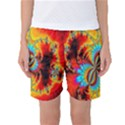 Crazy Mandelbrot Fractal Red Yellow Turquoise Women s Basketball Shorts View1