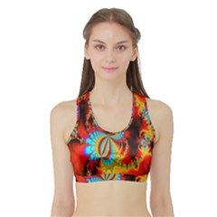 Crazy Mandelbrot Fractal Red Yellow Turquoise Sports Bra with Border