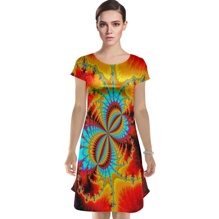 Crazy Mandelbrot Fractal Red Yellow Turquoise Cap Sleeve Nightdress