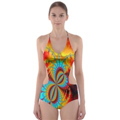 Crazy Mandelbrot Fractal Red Yellow Turquoise Cut Out One Piece Swimsuit by EDDArt