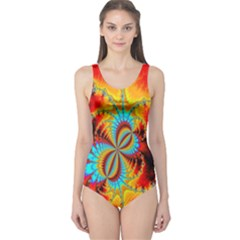 Crazy Mandelbrot Fractal Red Yellow Turquoise One Piece Swimsuit