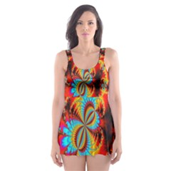 Crazy Mandelbrot Fractal Red Yellow Turquoise Skater Dress Swimsuit by EDDArt