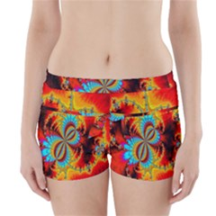 Crazy Mandelbrot Fractal Red Yellow Turquoise Boyleg Bikini Wrap Bottoms by EDDArt