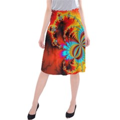Crazy Mandelbrot Fractal Red Yellow Turquoise Midi Beach Skirt by EDDArt