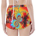 Crazy Mandelbrot Fractal Red Yellow Turquoise High-Waisted Bikini Bottoms View2