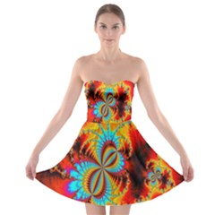 Crazy Mandelbrot Fractal Red Yellow Turquoise Strapless Bra Top Dress by EDDArt