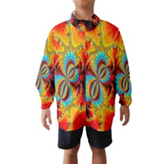 Crazy Mandelbrot Fractal Red Yellow Turquoise Wind Breaker (kids) by EDDArt