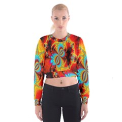 Crazy Mandelbrot Fractal Red Yellow Turquoise Women s Cropped Sweatshirt by EDDArt