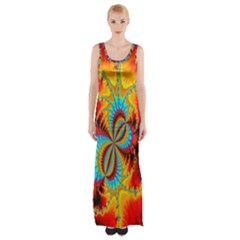 Crazy Mandelbrot Fractal Red Yellow Turquoise Maxi Thigh Split Dress by EDDArt