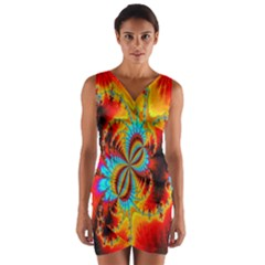 Crazy Mandelbrot Fractal Red Yellow Turquoise Wrap Front Bodycon Dress by EDDArt