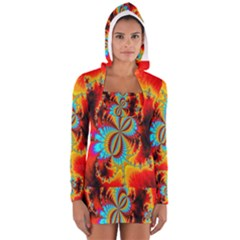 Crazy Mandelbrot Fractal Red Yellow Turquoise Women s Long Sleeve Hooded T Shirt by EDDArt