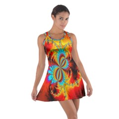 Crazy Mandelbrot Fractal Red Yellow Turquoise Cotton Racerback Dress by EDDArt
