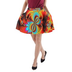 Crazy Mandelbrot Fractal Red Yellow Turquoise A Line Pocket Skirt by EDDArt