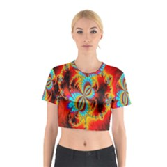 Crazy Mandelbrot Fractal Red Yellow Turquoise Cotton Crop Top
