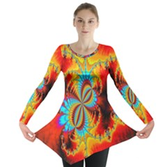 Crazy Mandelbrot Fractal Red Yellow Turquoise Long Sleeve Tunic