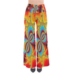 Crazy Mandelbrot Fractal Red Yellow Turquoise Pants by EDDArt