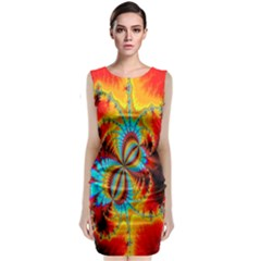 Crazy Mandelbrot Fractal Red Yellow Turquoise Classic Sleeveless Midi Dress by EDDArt