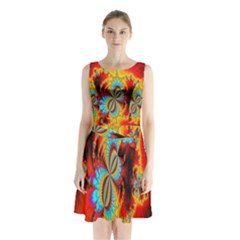 Crazy Mandelbrot Fractal Red Yellow Turquoise Sleeveless Chiffon Waist Tie Dress