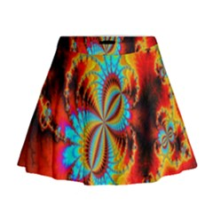 Crazy Mandelbrot Fractal Red Yellow Turquoise Mini Flare Skirt by EDDArt