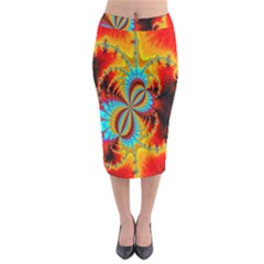 Crazy Mandelbrot Fractal Red Yellow Turquoise Midi Pencil Skirt by EDDArt