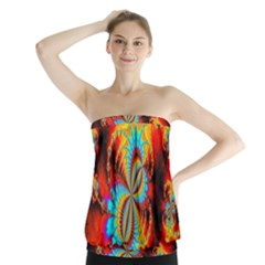 Crazy Mandelbrot Fractal Red Yellow Turquoise Strapless Top by EDDArt