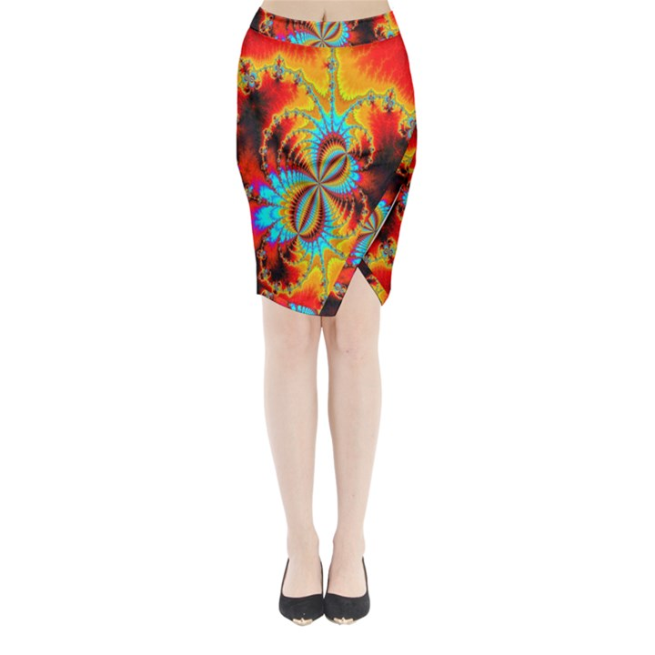Crazy Mandelbrot Fractal Red Yellow Turquoise Midi Wrap Pencil Skirt