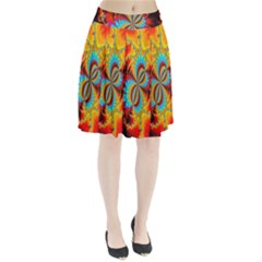 Crazy Mandelbrot Fractal Red Yellow Turquoise Pleated Skirt by EDDArt