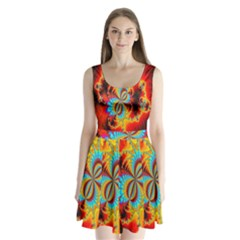 Crazy Mandelbrot Fractal Red Yellow Turquoise Split Back Mini Dress  by EDDArt