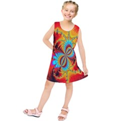 Crazy Mandelbrot Fractal Red Yellow Turquoise Kids  Tunic Dress by EDDArt